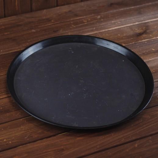 Поднос круглый, черный пластик, d 40 см