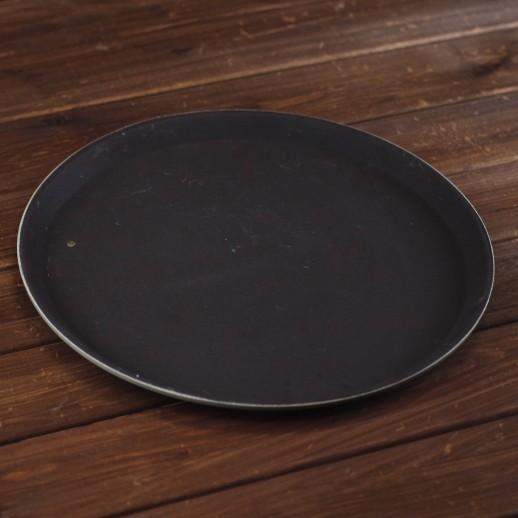 Поднос круглый, коричневый пластик, d 35 см