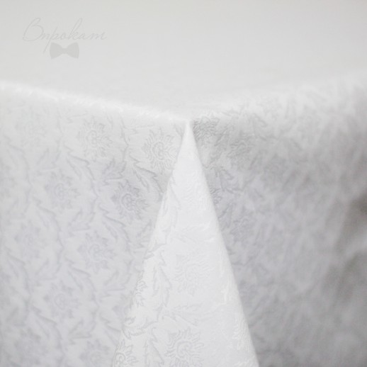 Скатерть белая, 220 х 150 см, жаккард №1