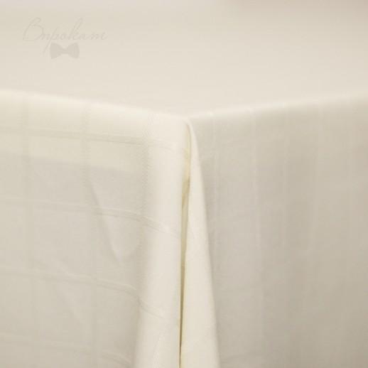Скатерть молочная в клетку, 220 х 150 см
