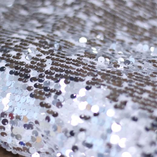Аренда ткани с пайетками, серебро