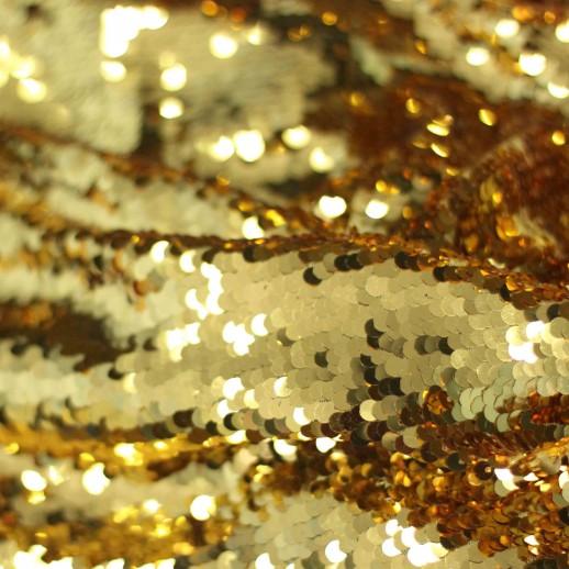 Аренда ткани с пайетками, золото