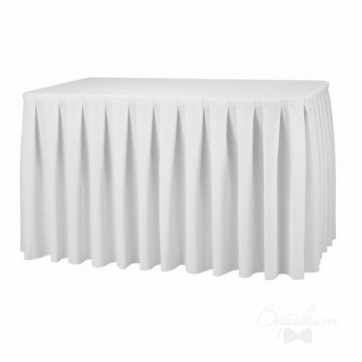 Аренда фуршетной юбки 1, белая, габардин, 5 м х 70 см