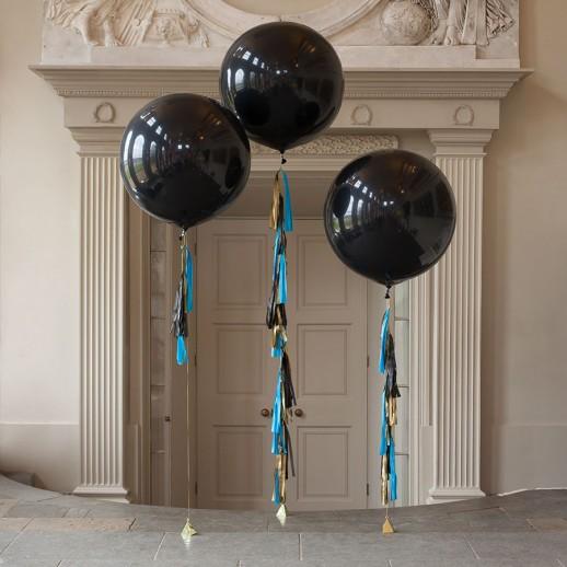Композиция из 3х черных шаров с гелием, 1 м