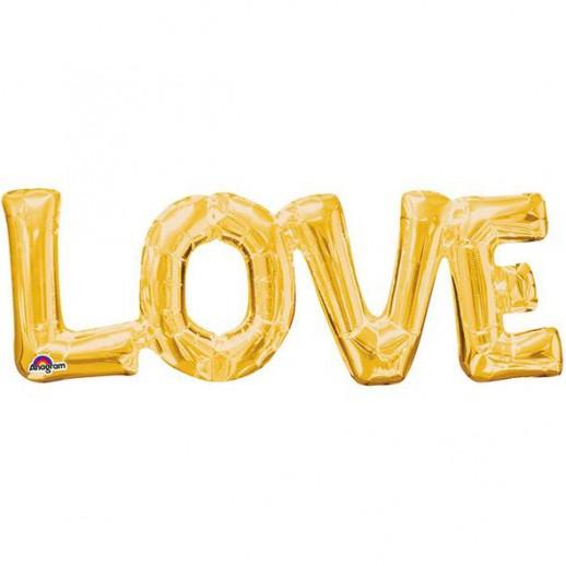 Буквы LOVE фольгированные, золотые