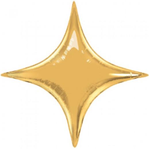 Звезда 4 угла фольгированная, золото