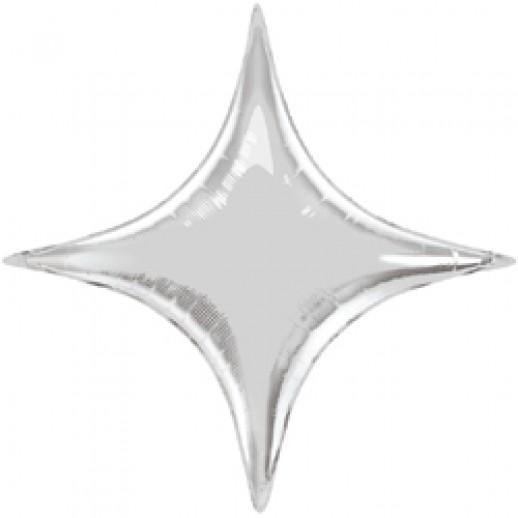 Звезда 4 угла фольгированная, серебро