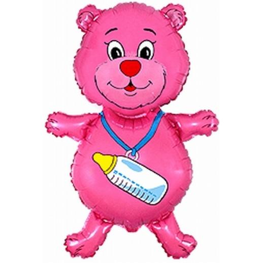 Мишка с соской розовый, фольгированный шар