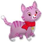 Кошка розовая, фольгированный шар