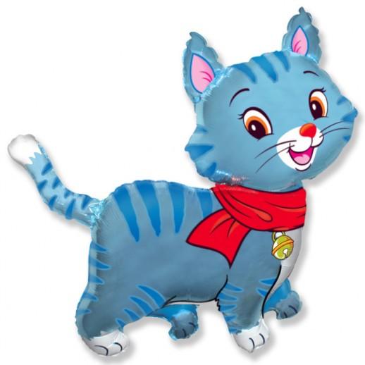 Кот синий, фольгированный шар