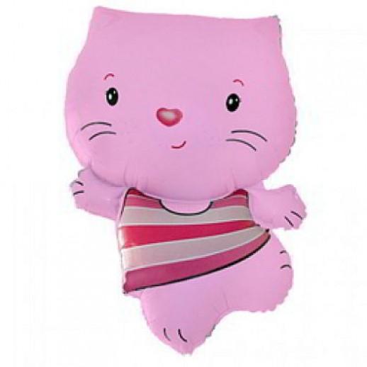 Кошка розовая № 2, фольгированный шар