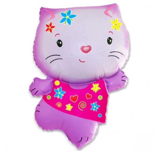 Кошка розовая № 3, фольгированный шар