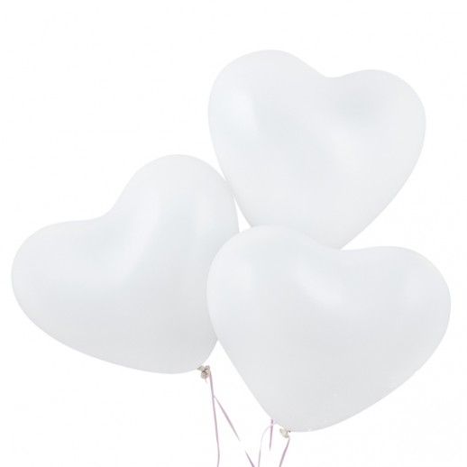 Шары с гелием Сердце, 40 см, белые