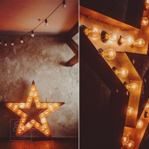Звезда с ретро лампочками, 71х71х15 см
