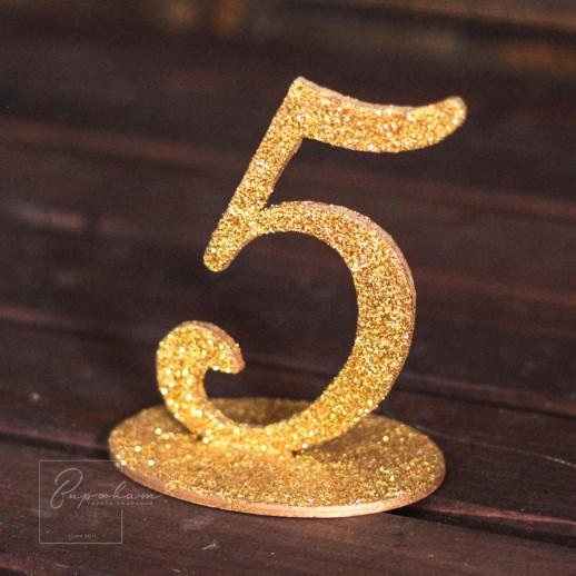 Аренда нумерации столов, золото с блестками
