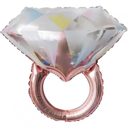 Кольцо с бриллиантом, Розовое Золото, фольгированный шар