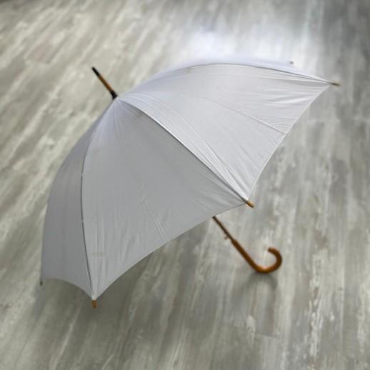 Зонт, белый с светло-коричневой ручкой