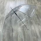 Зонт - трость, прозрачный с белой ручкой (2021)